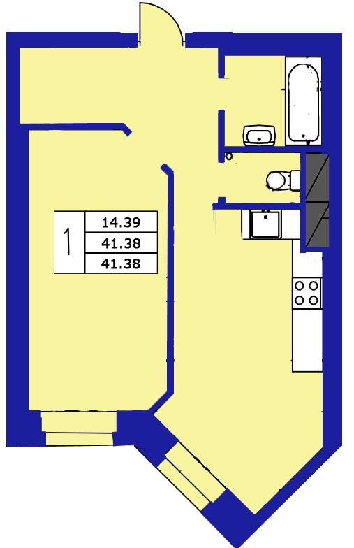 Планировка Однокомнатная квартира площадью 41.38 кв.м в ЖК «ЖК Озерный»