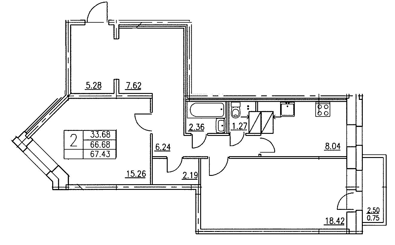 Планировка Двухкомнатная квартира площадью 67.43 кв.м в ЖК «Озерный»