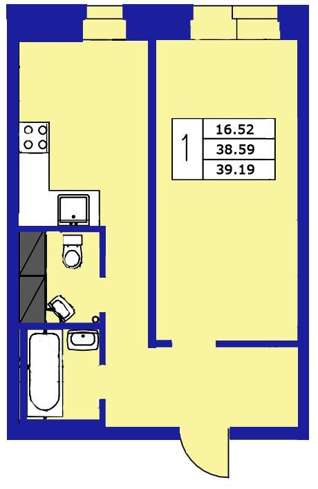 Планировка Однокомнатная квартира площадью 39.19 кв.м в ЖК «ЖК Озерный»