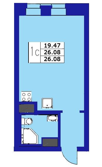 Планировка Студия площадью 26.08 кв.м в ЖК «ЖК Озерный»