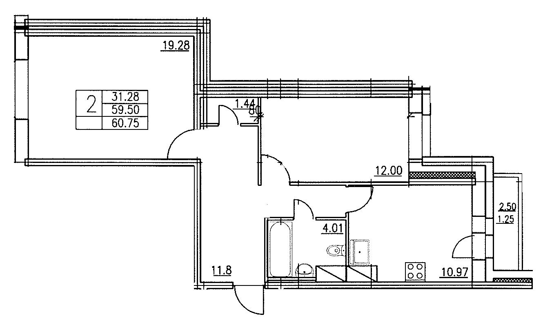 Планировка Двухкомнатная квартира площадью 60.75 кв.м в ЖК «Озерный»