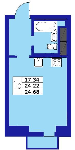 Планировка Студия площадью 24.68 кв.м в ЖК «ЖК Озерный»