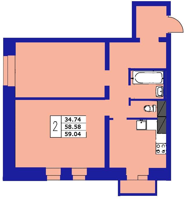 Планировка Двухкомнатная квартира площадью 59.04 кв.м в ЖК «ЖК Озерный»