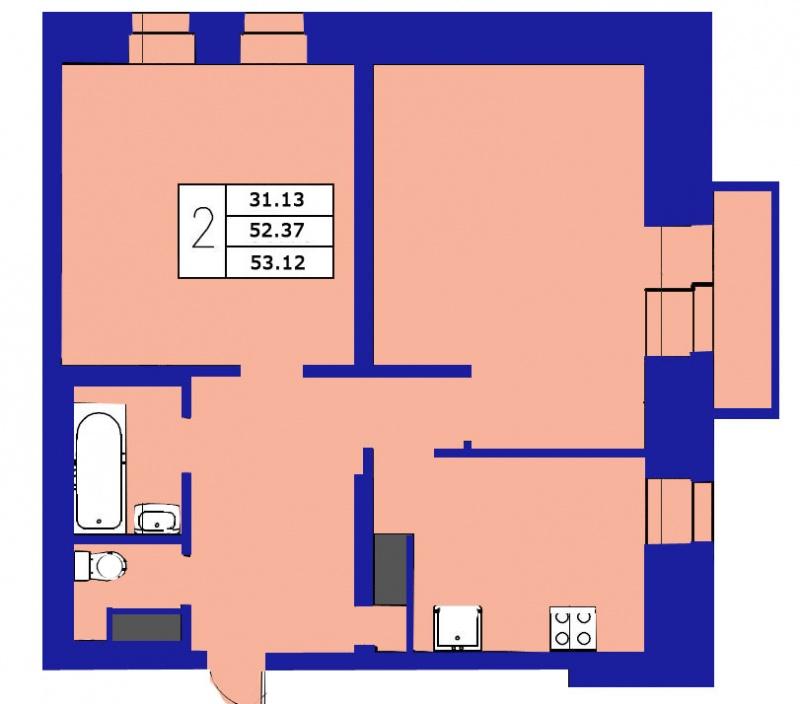 Планировка Двухкомнатная квартира площадью 53.12 кв.м в ЖК «ЖК Озерный»