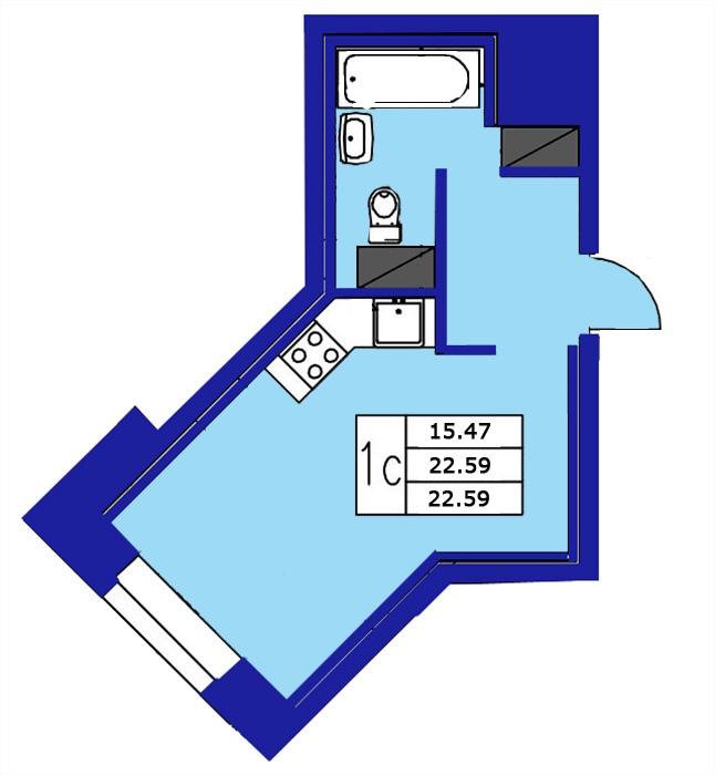 Планировка Студия площадью 22.59 кв.м в ЖК «ЖК Озерный»