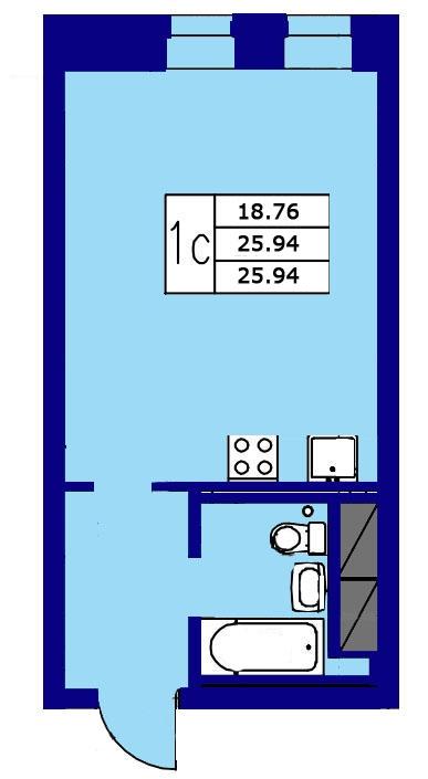 Планировка Студия площадью 25.94 кв.м в ЖК «ЖК Озерный»