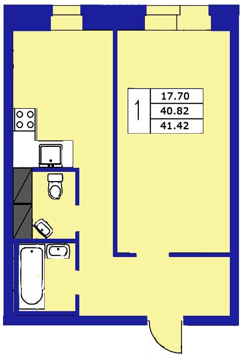 Планировка Однокомнатная квартира площадью 41.42 кв.м в ЖК «ЖК Озерный»
