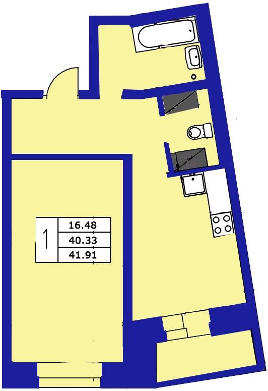 Планировка Однокомнатная квартира площадью 41.91 кв.м в ЖК «ЖК Озерный»