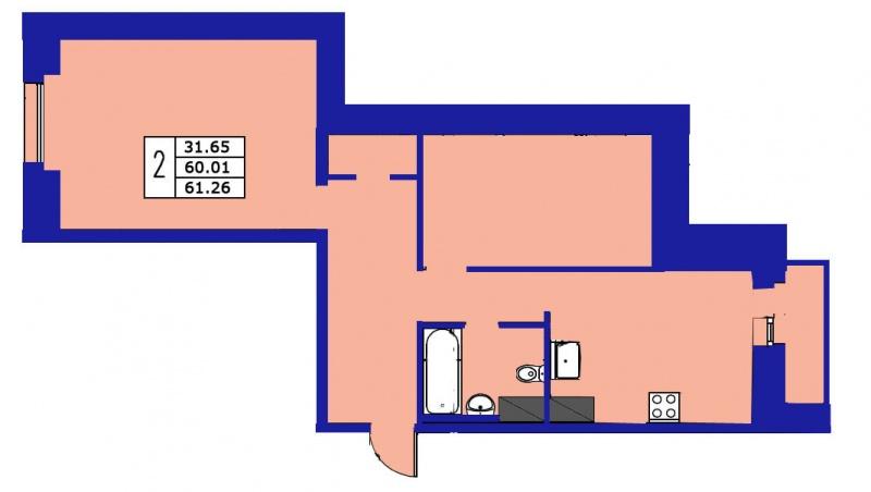Планировка Двухкомнатная квартира площадью 61.26 кв.м в ЖК «ЖК Озерный»
