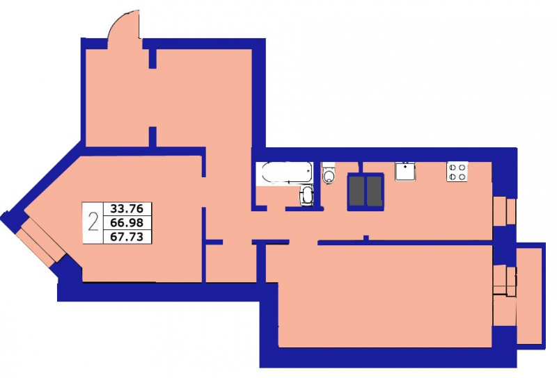 Планировка Двухкомнатная квартира площадью 67.73 кв.м в ЖК «ЖК Озерный»