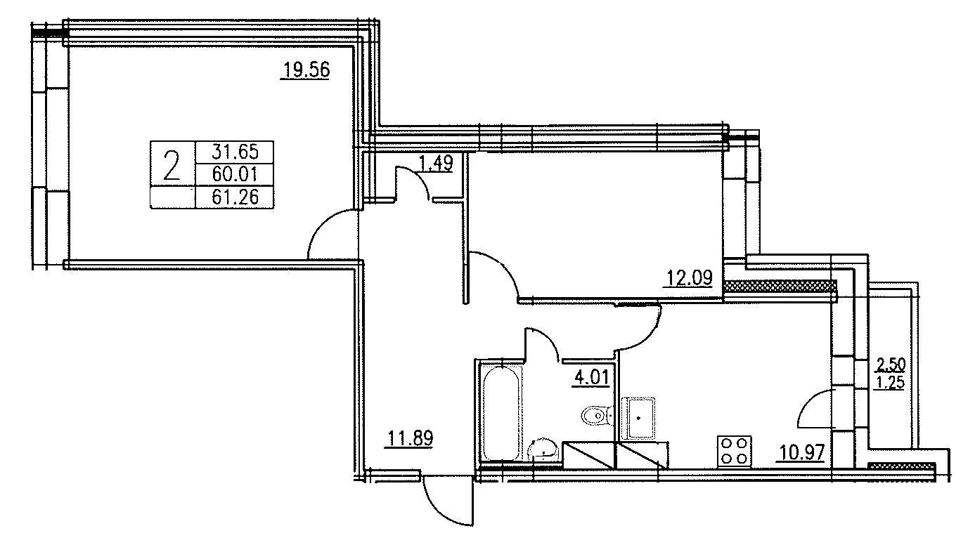 Планировка Двухкомнатная квартира площадью 61.26 кв.м в ЖК «Озерный»