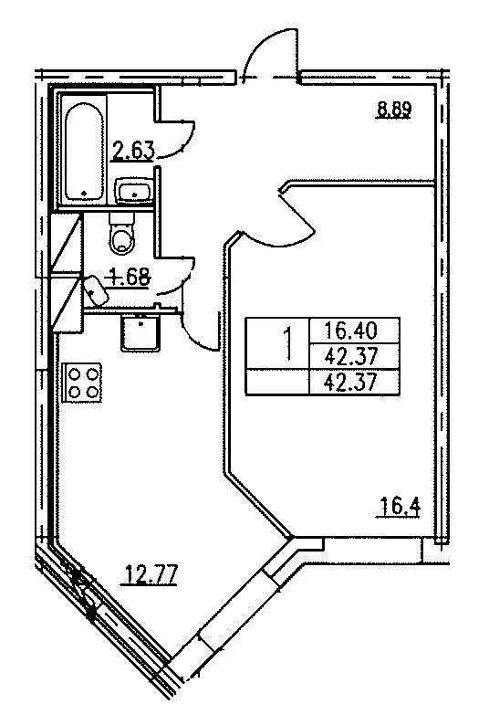 Планировка Однокомнатная квартира площадью 42.37 кв.м в ЖК «Озерный»