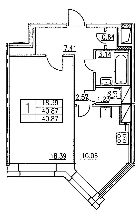 Планировка Однокомнатная квартира площадью 40.87 кв.м в ЖК «Озерный»