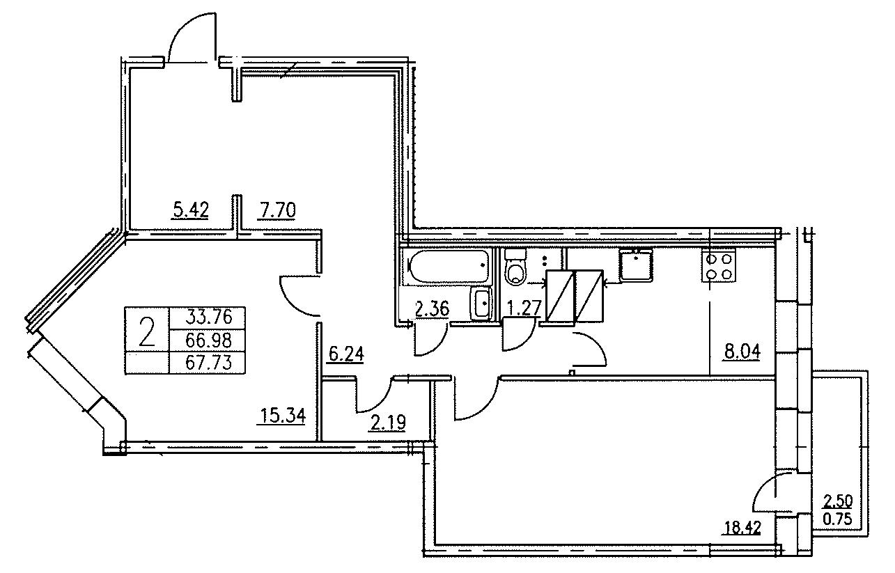 Планировка Двухкомнатная квартира площадью 67.73 кв.м в ЖК «Озерный»