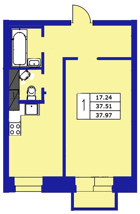 Планировка Однокомнатная квартира площадью 37.97 кв.м в ЖК «ЖК Озерный»